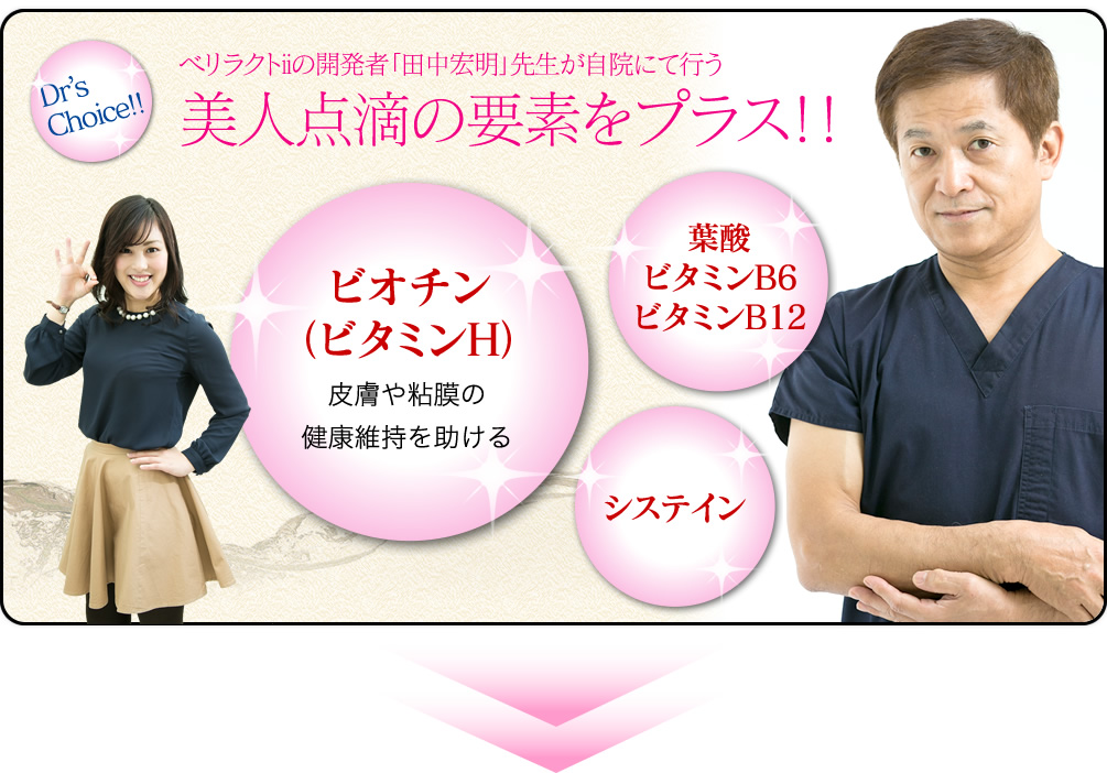 ベリラクトiiの開発者「田中宏明」先生が自院にて行う                                                                                                         美人点滴の要素をプラス!!